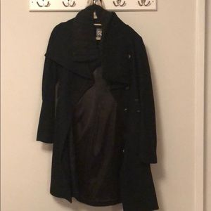 Mackage black wool trench with wool collar